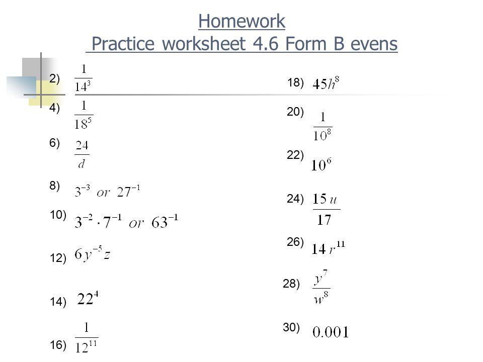 Homework Practice worksheet 4.6 Form B evens