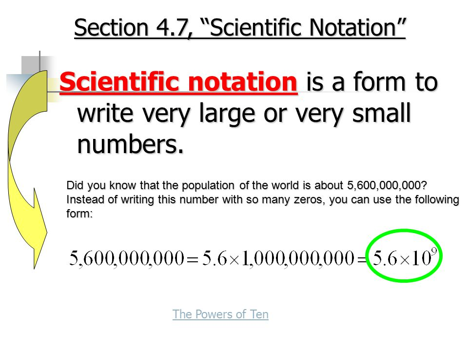 Section 4.7, Scientific Notation