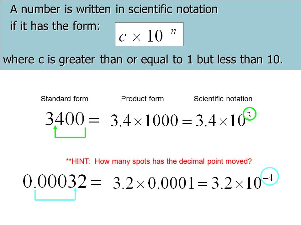 A number is written in scientific notation if it has the form: