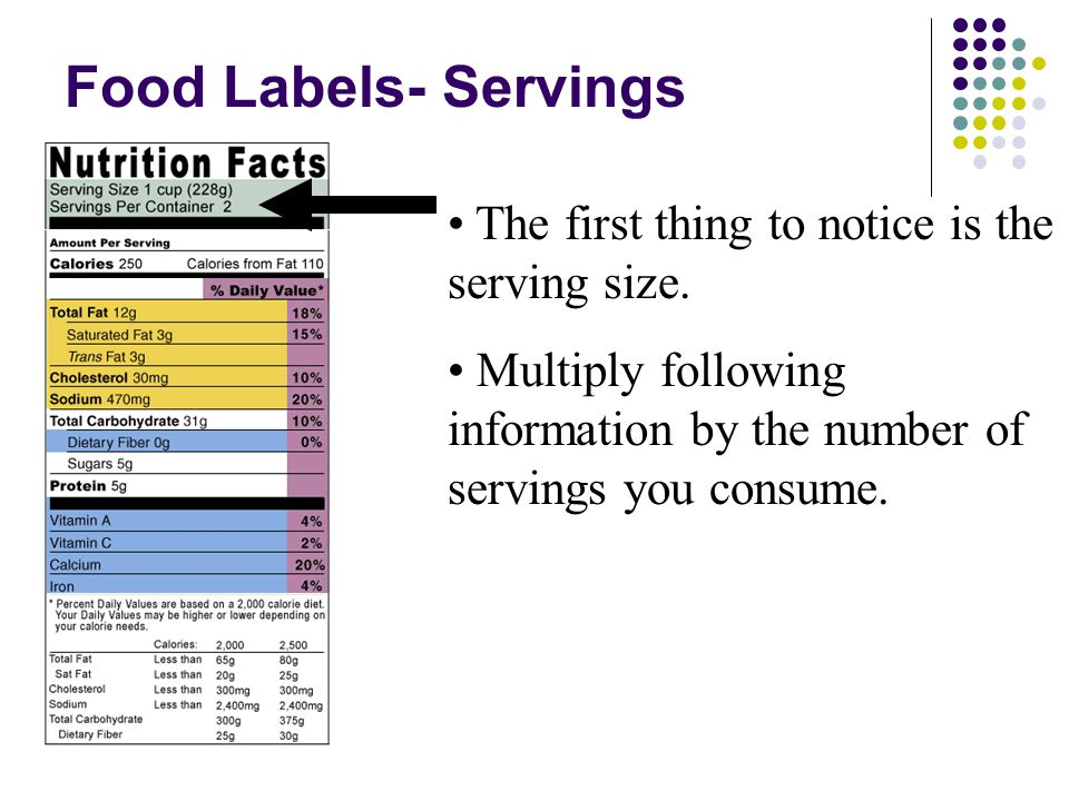 Food Labels- Servings The first thing to notice is the serving size.