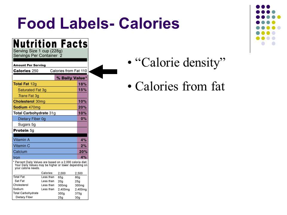 Food Labels- Calories Calorie density Calories from fat