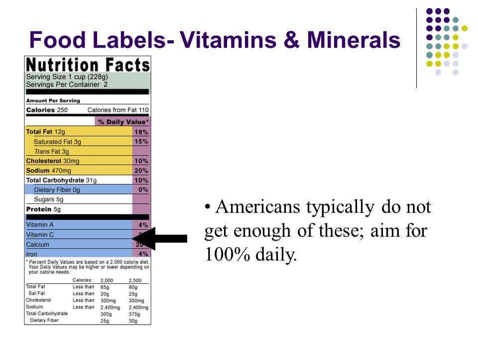 Food Labels- Vitamins & Minerals