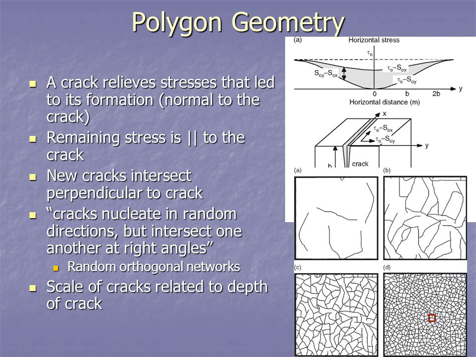 Polygon Geometry A crack relieves stresses that led to its formation (normal to the crack) Remaining stress is || to the crack.