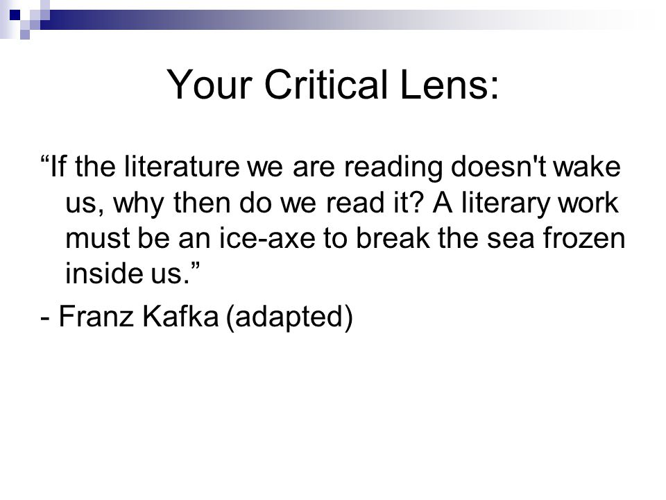 Your Critical Lens: