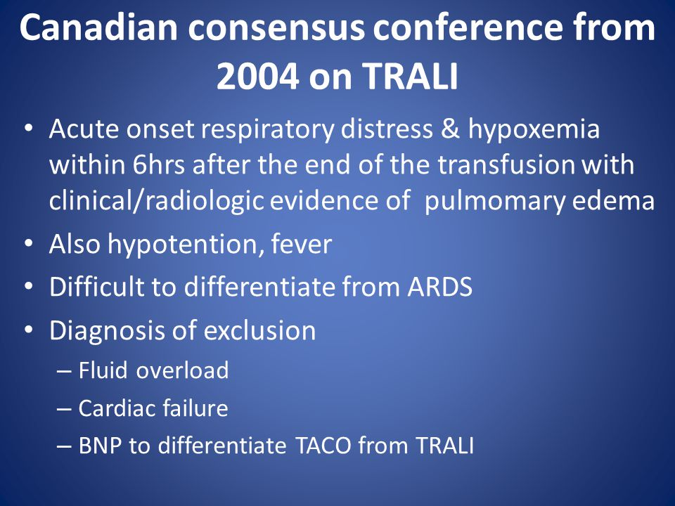 Canadian consensus conference from 2004 on TRALI