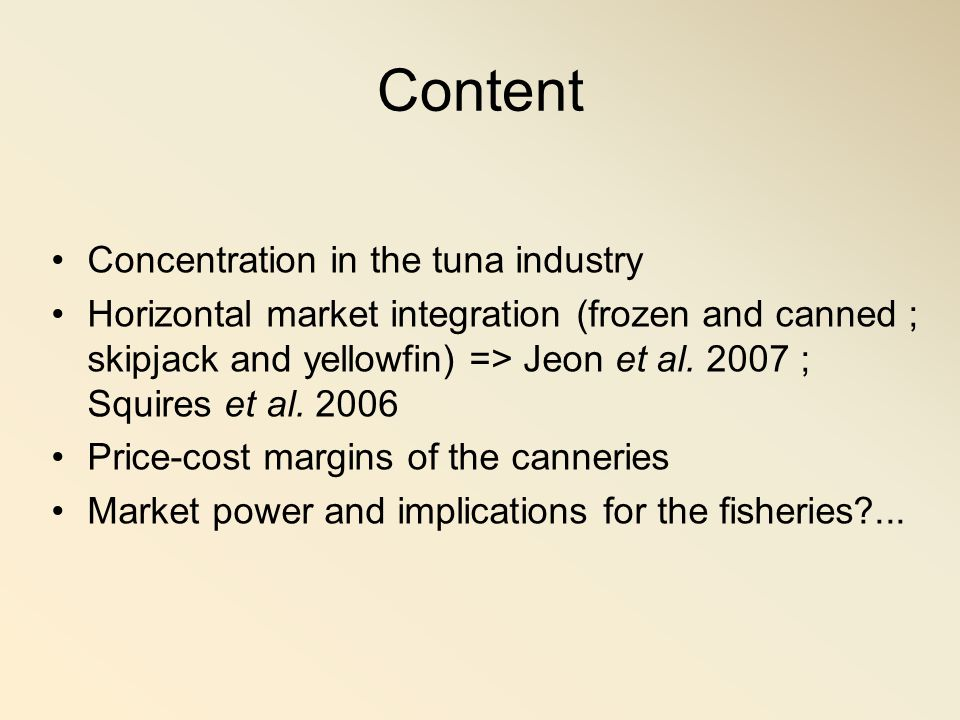 Content Concentration in the tuna industry