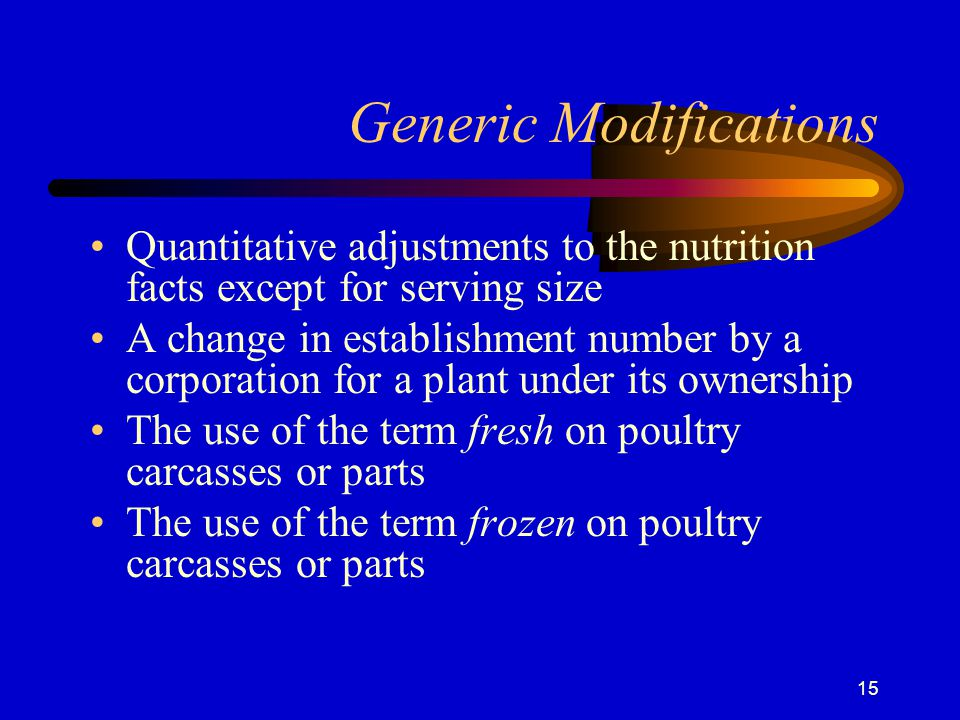 Generic Modifications