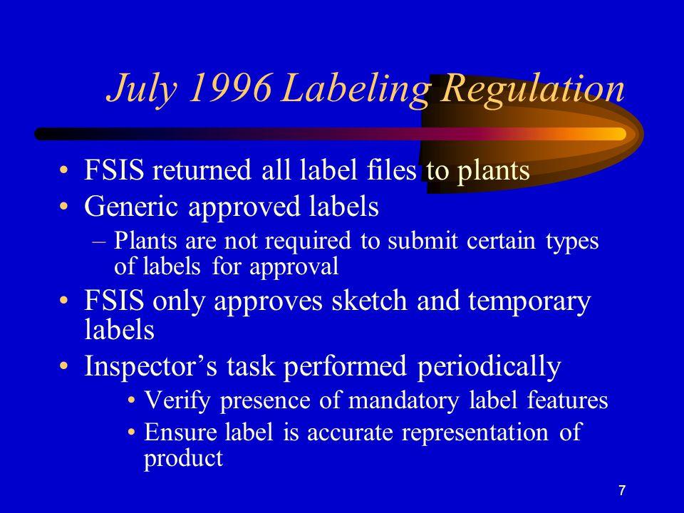 July 1996 Labeling Regulation