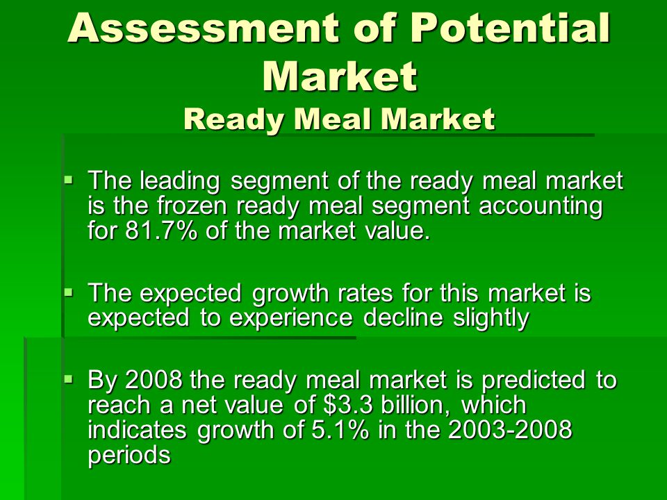 Assessment of Potential Market Ready Meal Market
