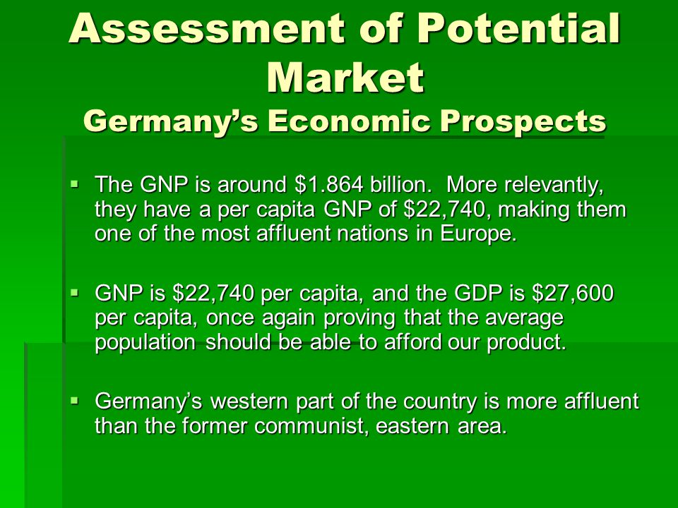 Assessment of Potential Market Germany's Economic Prospects