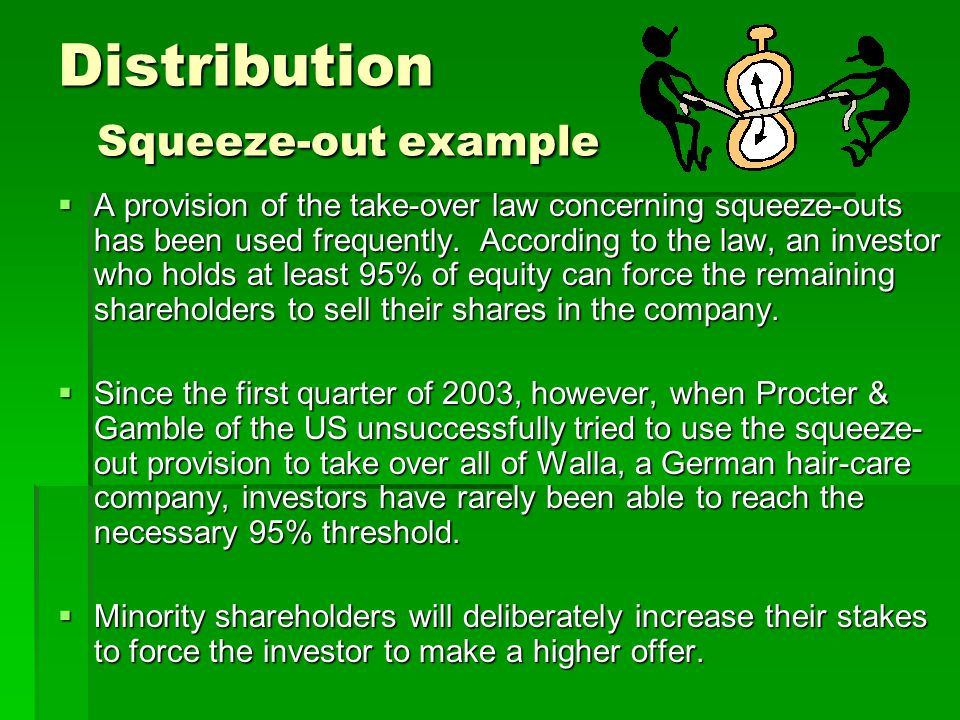 Distribution Squeeze-out example