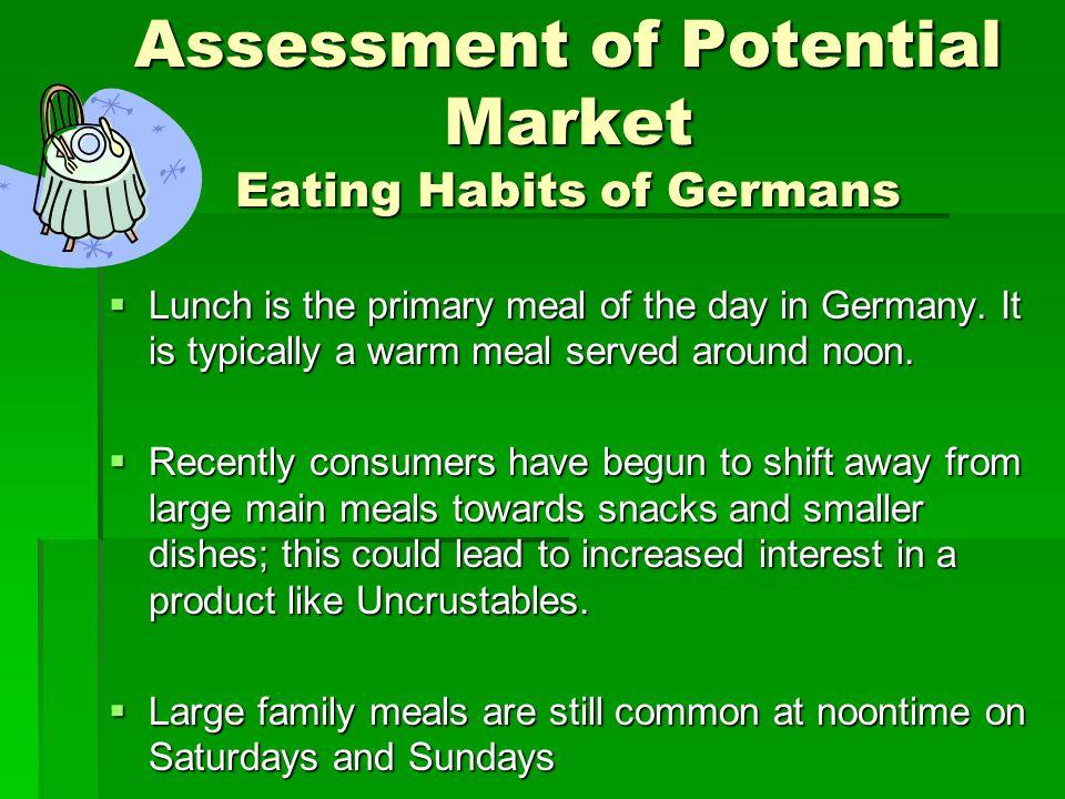 Assessment of Potential Market Eating Habits of Germans