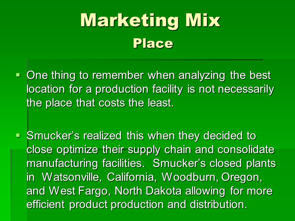 Marketing Mix Place