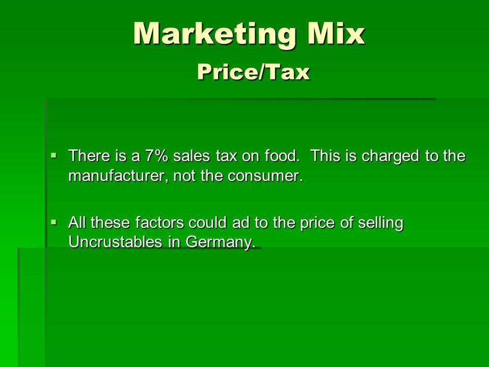 Marketing Mix Price/Tax