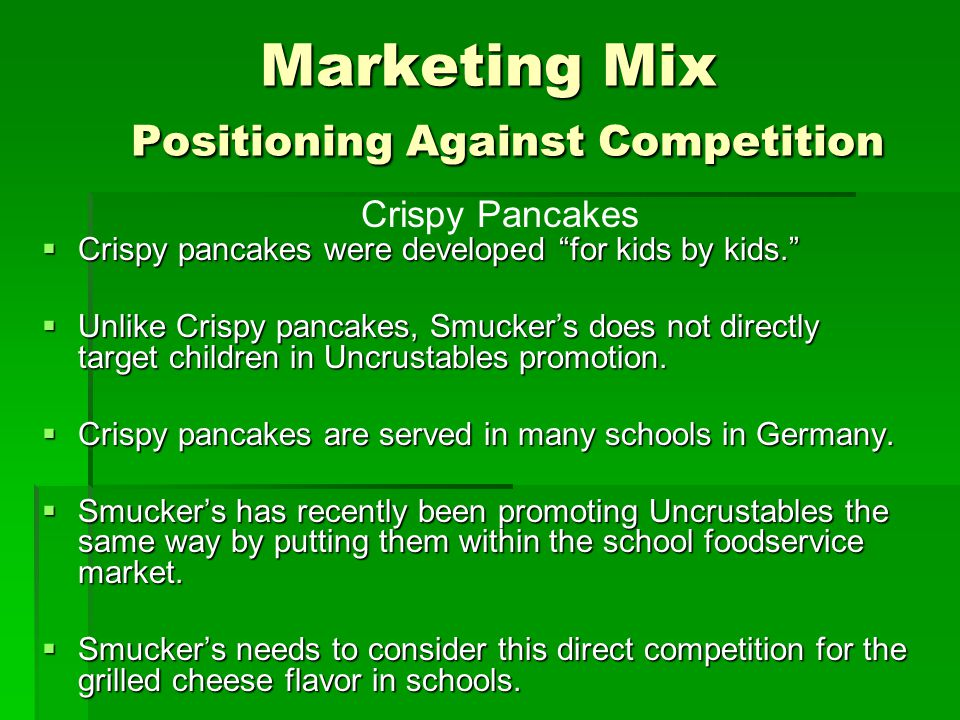 Marketing Mix Positioning Against Competition