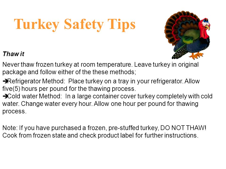 Turkey Safety Tips Thaw it
