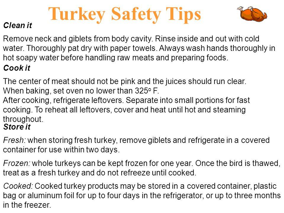 Turkey Safety Tips Clean it