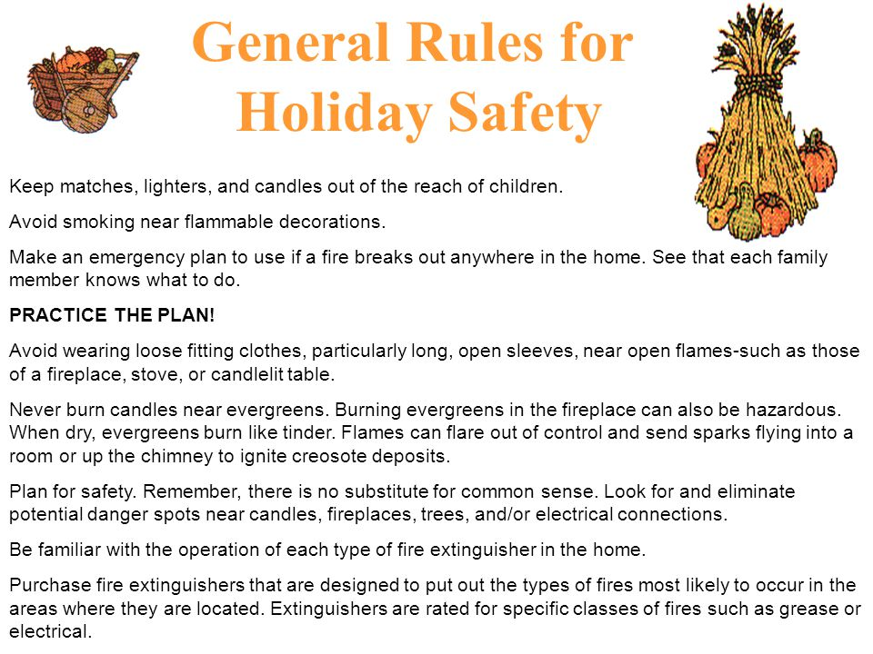 General Rules for Holiday Safety