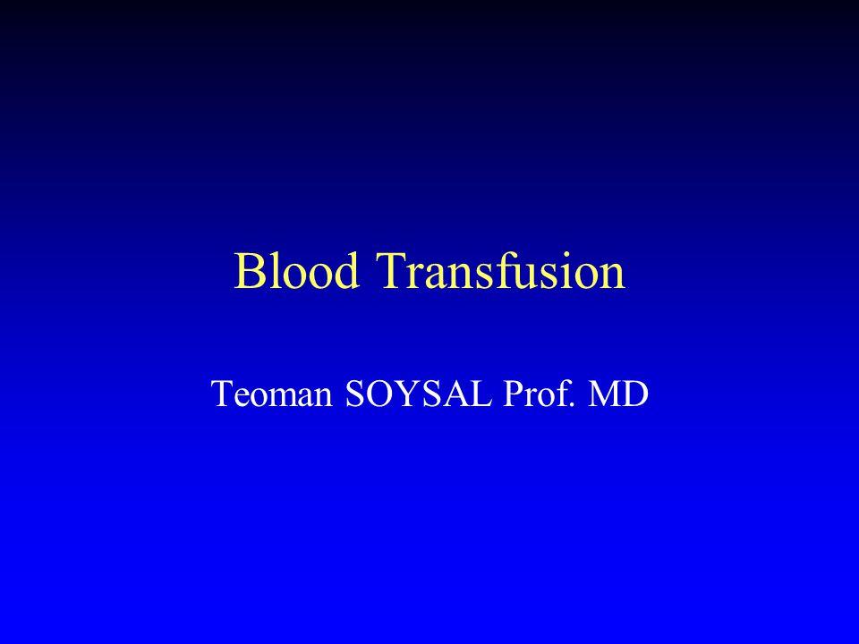 Blood Transfusion Teoman SOYSAL Prof. MD