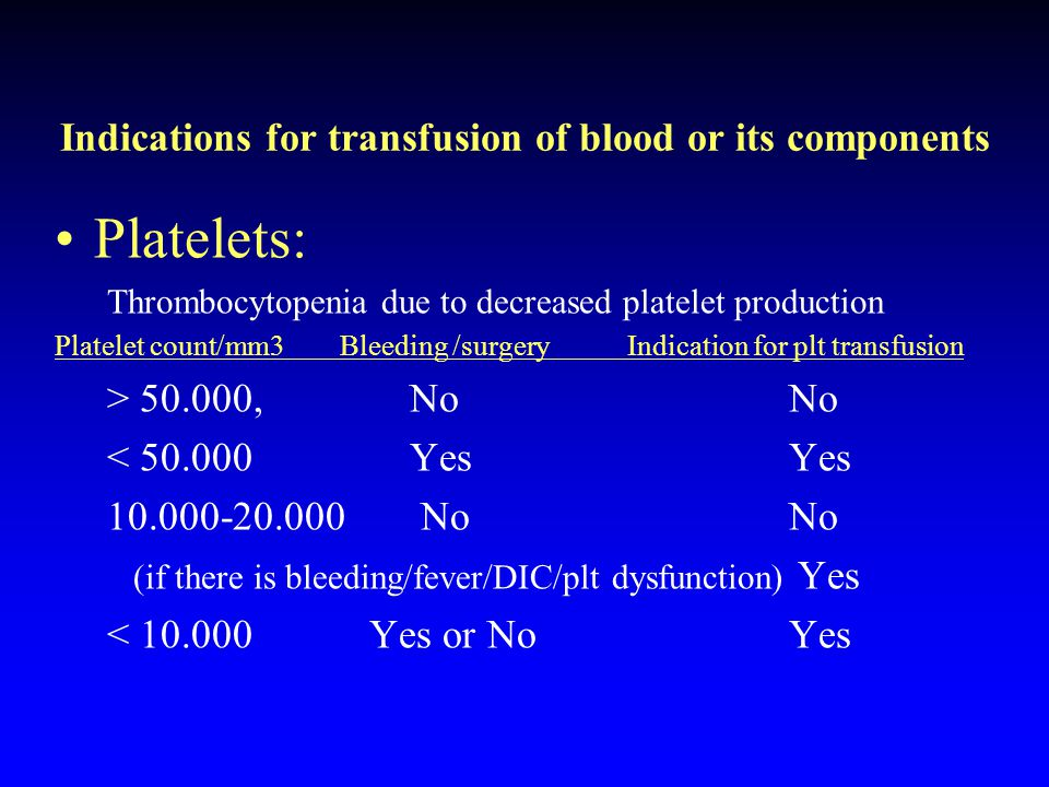 Indications for transfusion of blood or its components