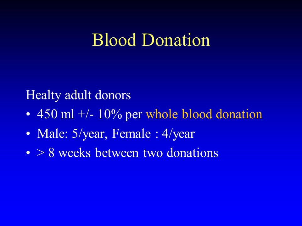 Blood Donation Healty adult donors