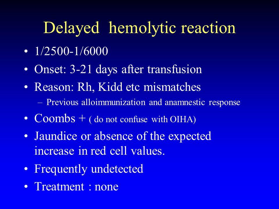 Delayed hemolytic reaction