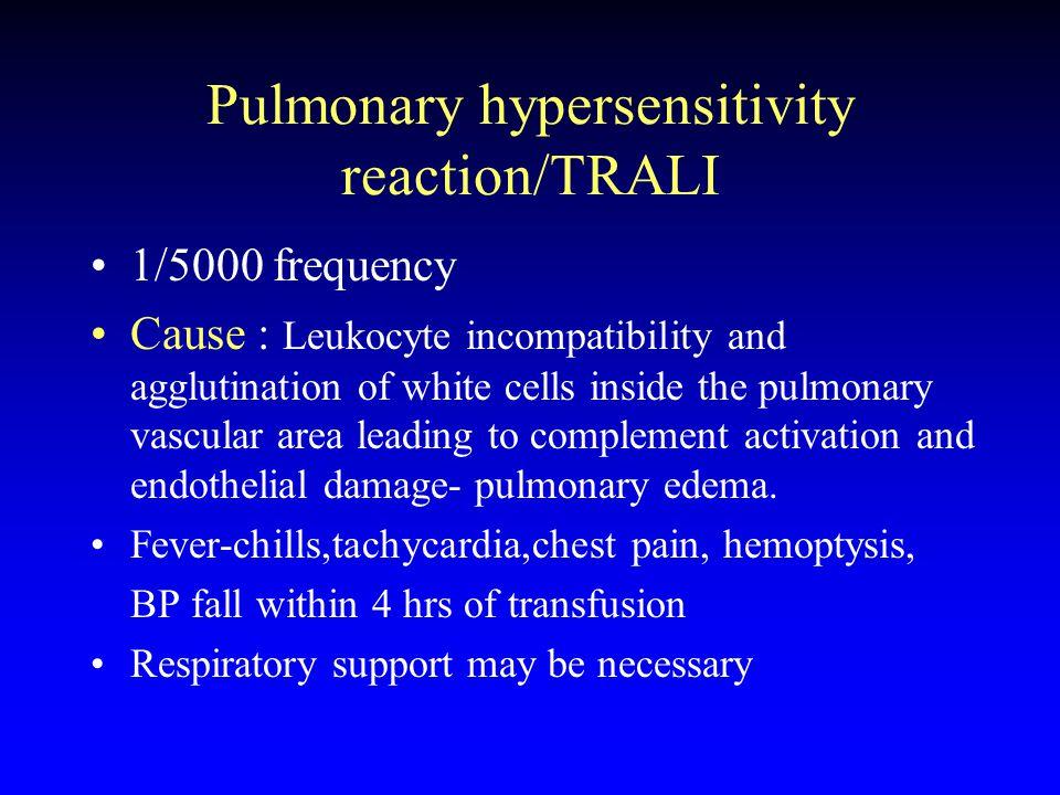 Pulmonary hypersensitivity reaction/TRALI