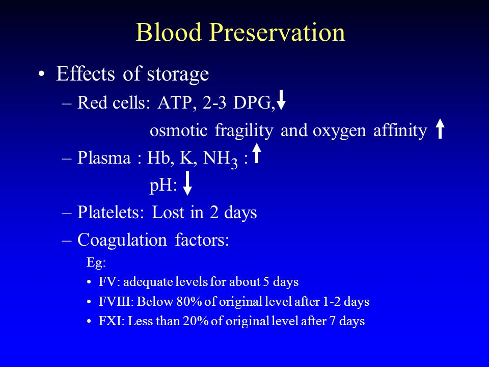Blood Preservation Effects of storage Red cells: ATP, 2-3 DPG,