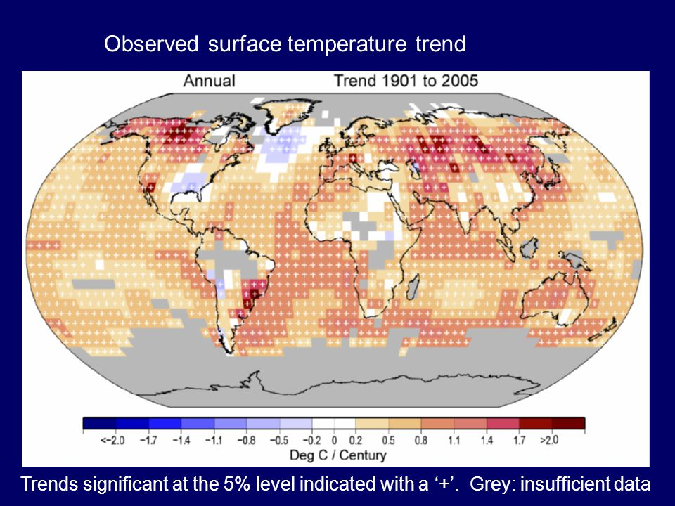 Observed surface temperature trend