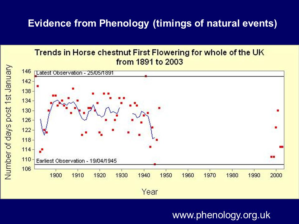 Evidence from Phenology (timings of natural events)