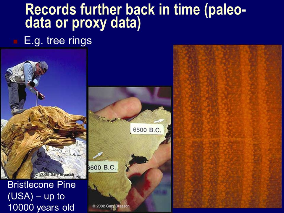 Records further back in time (paleo-data or proxy data)