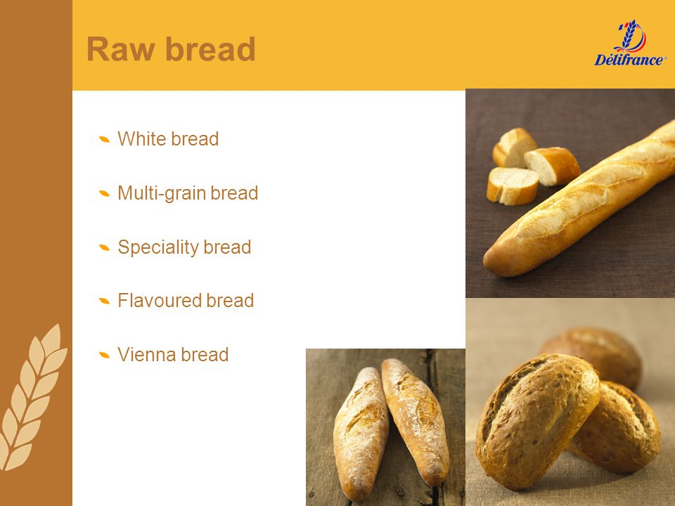 Raw bread White bread Multi-grain bread Speciality bread