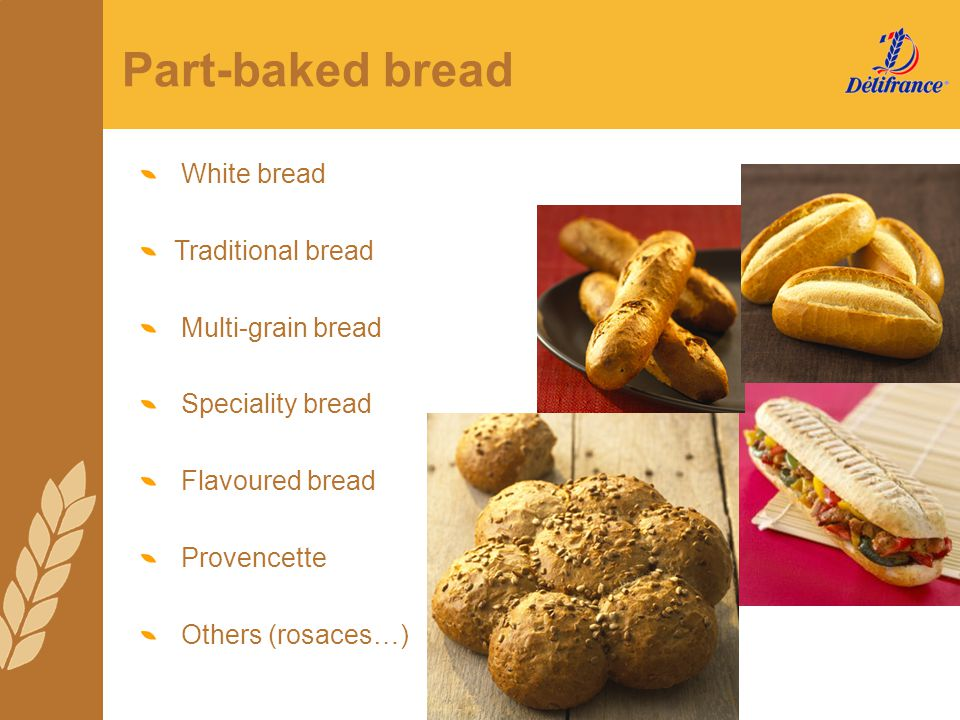 Part-baked bread White bread Traditional bread Multi-grain bread