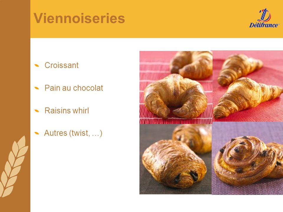 Viennoiseries Croissant Pain au chocolat Raisins whirl