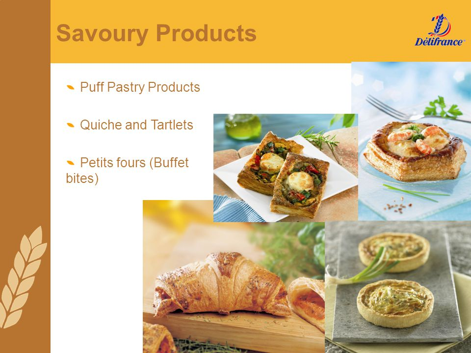 Savoury Products Puff Pastry Products Quiche and Tartlets