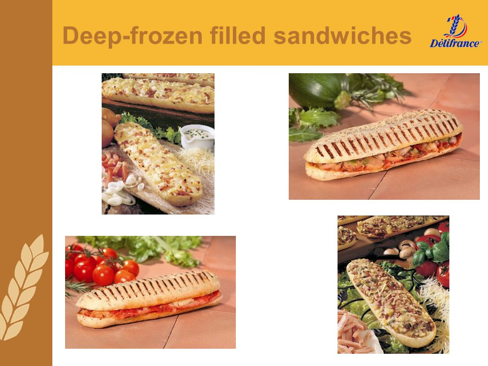 Deep-frozen filled sandwiches