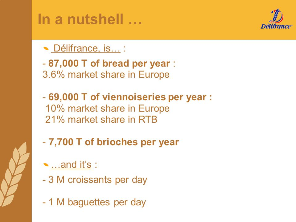 In a nutshell … Délifrance, is… : - 87,000 T of bread per year :