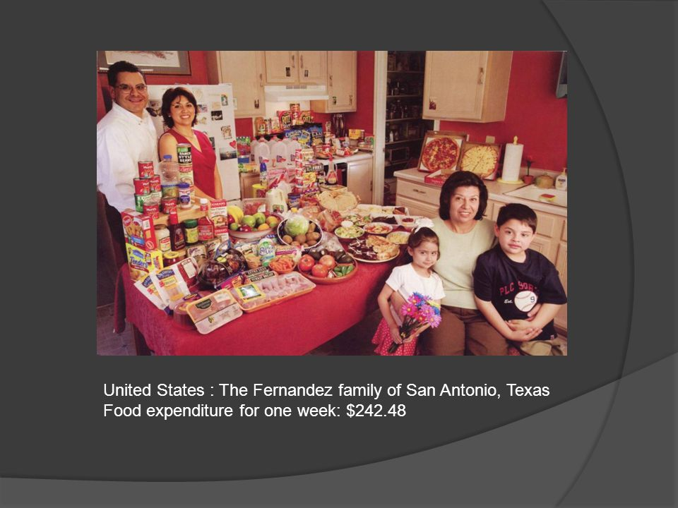 United States : The Fernandez family of San Antonio, Texas Food expenditure for one week: $242.48