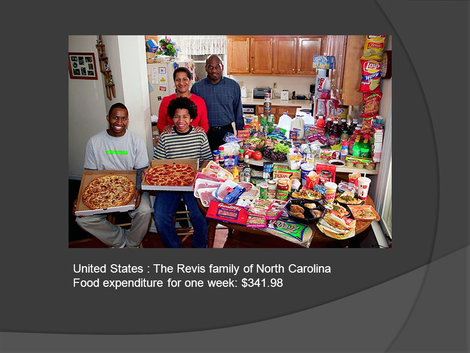 United States : The Revis family of North Carolina Food expenditure for one week: $341.98