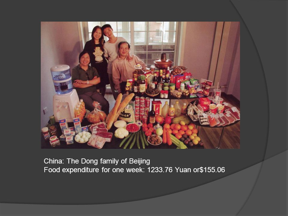 China: The Dong family of Beijing Food expenditure for one week: 1233