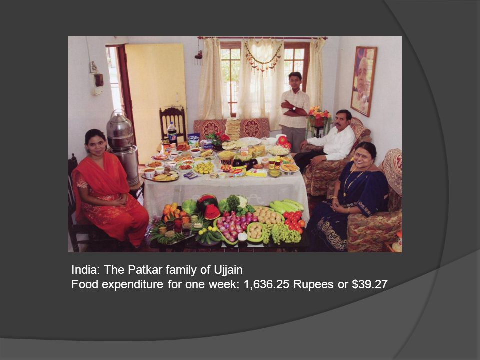 India: The Patkar family of Ujjain Food expenditure for one week: 1,636.25 Rupees or $39.27