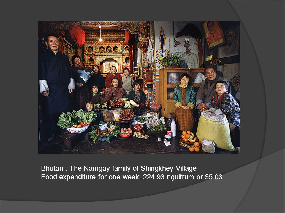 Bhutan : The Namgay family of Shingkhey Village Food expenditure for one week: 224.93 ngultrum or $5.03