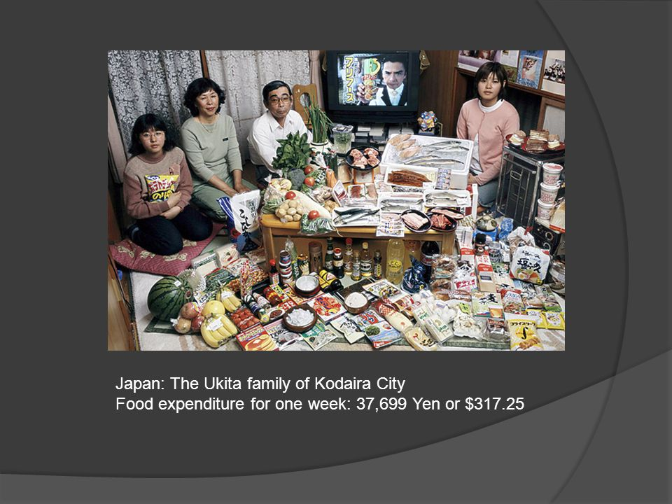 Japan: The Ukita family of Kodaira City Food expenditure for one week: 37,699 Yen or $317.25