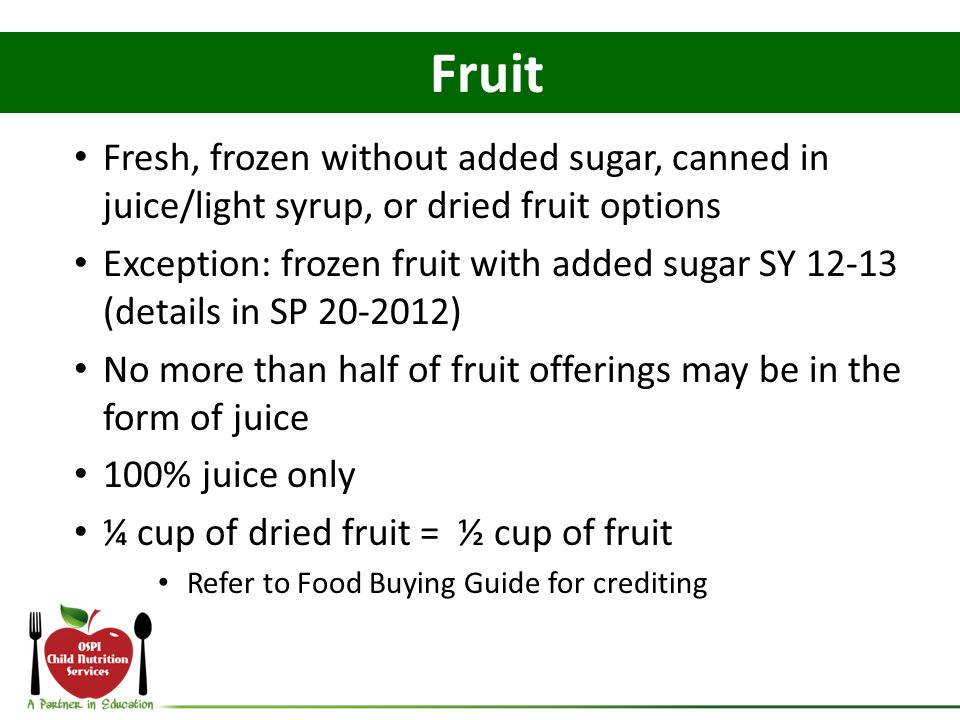 Fruit Fresh, frozen without added sugar, canned in juice/light syrup, or dried fruit options.