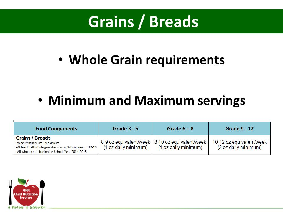 Whole Grain requirements Minimum and Maximum servings