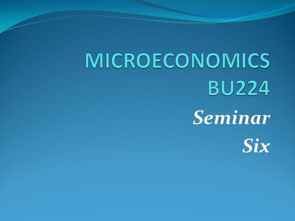 MICROECONOMICS BU224 Seminar Six