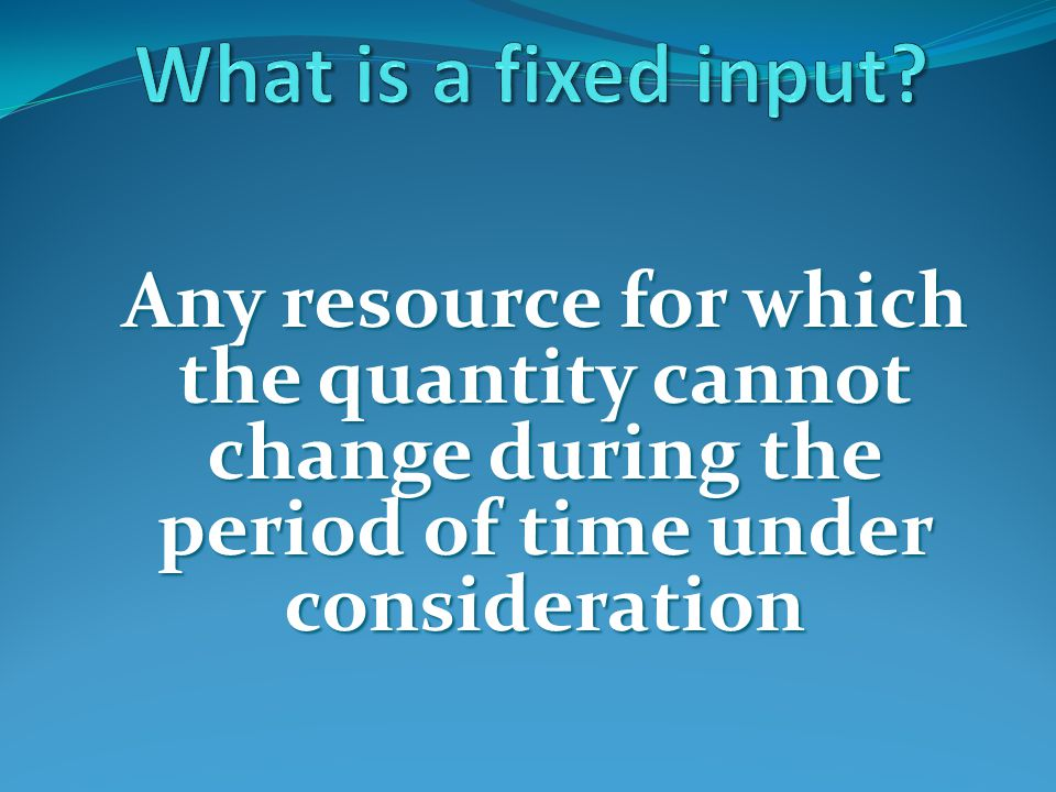 What is a fixed input.