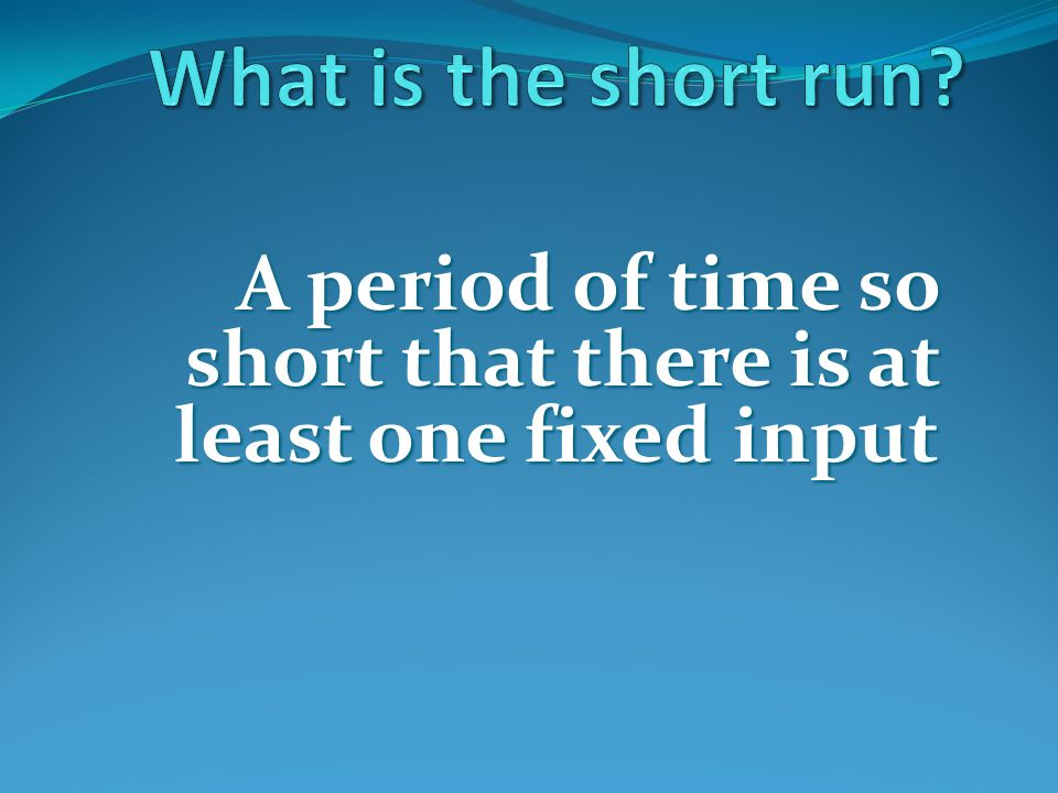 What is the short run A period of time so short that there is at least one fixed input