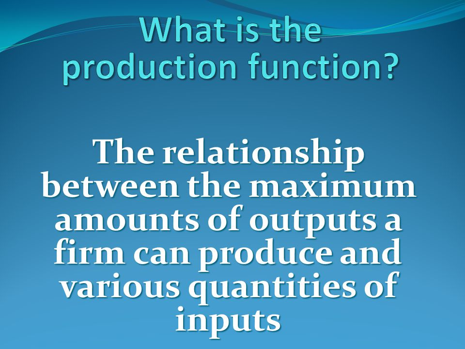 What is the production function