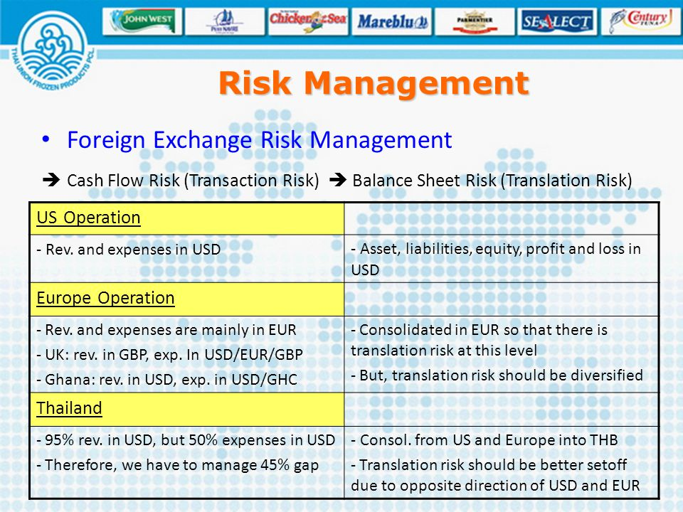 Risk Management Foreign Exchange Risk Management US Operation